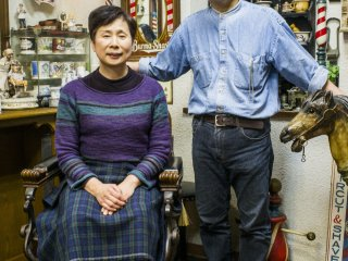 The elderly couple who runs the barbershop-turned-museum.