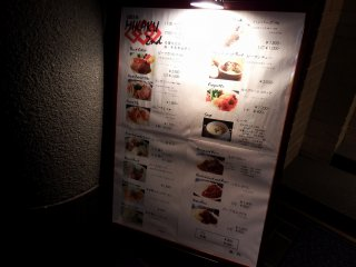 Menu displayed at the restaurant. Well, it's affordable...right?