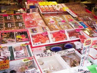 The front of the store selling various seafood.