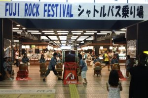 The local taiko troupe entertain visitors as the arrive at Echigo Yuzawa Station