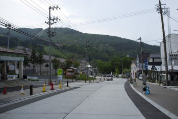 <p>Along the main street in Zao Onsen Town</p>
