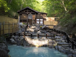 The biggest open-air onsen in Zao Onsen Town