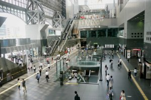 The busy Kyoto Station from which you have to take the Biwa line.