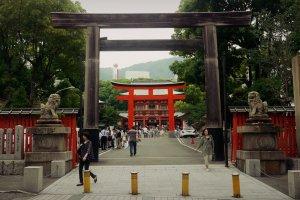 Entering the shrine.