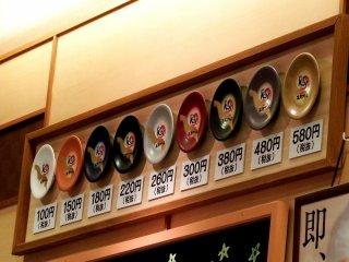 초밥의 가격은 접시 색깔로 알 수 있다