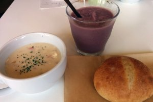 My set meal featuring clam chowder, acai smoothie, and hot bread