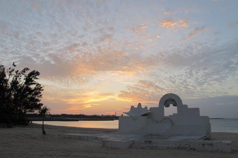 Sunset over the beach at Yoron's main town, Chabana