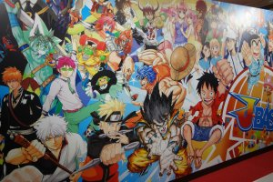 Collective mural featuring all Shonen Jump characters