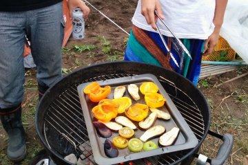 <p>Grilling &nbsp;up fresh veggies</p>