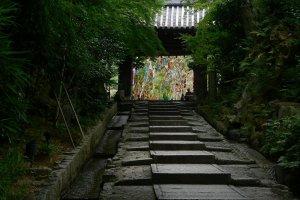 Tanabata decorations framed in the gate of Kodai-ji