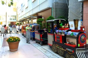 Children can enjoy a ride on the choo-choo train down Harbor Street