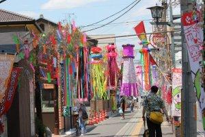 Fukaya's Tanabatamatsuri- Fukaya's streets are decorated with colorful ribbons