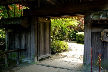 <p>The path to the Ogino house leads from a traditional wooden gate &nbsp;</p>