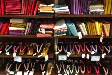 <p>The large, colorful selection of Obi&#39;s and Geta&#39;s at Marui City Shibuya.</p>