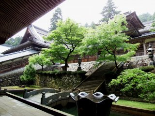 Looking up at 'Chujakumon Gate' from the corridor of the Main Gate. The small stone bridge is called 'Robaikyo (old plum tree)'. The founder of Eiheiji Temple, Dogen, loved plum trees and the bridge was named after a tree he loved