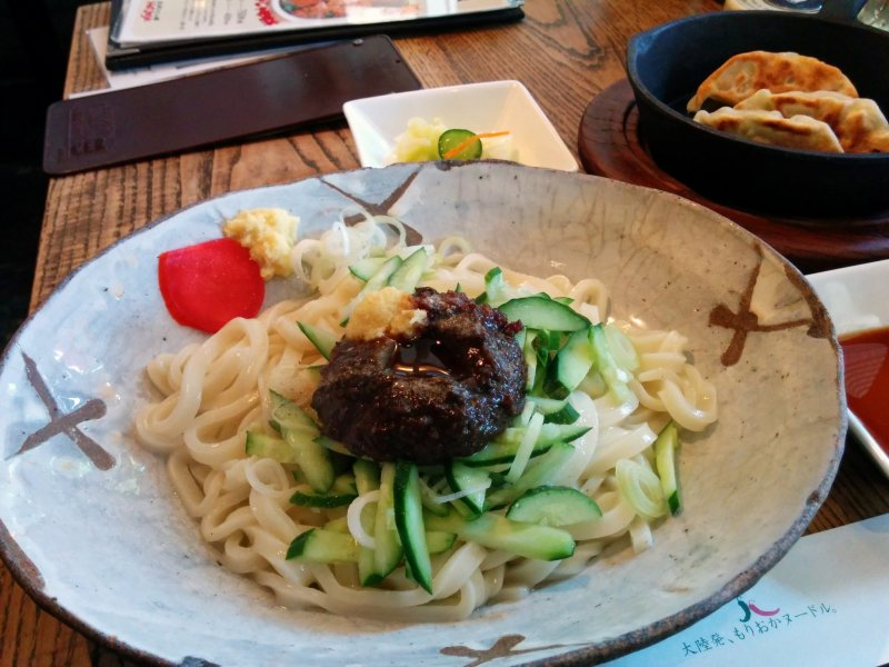 <p>Jajamen&nbsp;before mixing the meat-miso spicy goodness into the noodles</p>