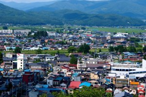 Tono city and its surrounding hills