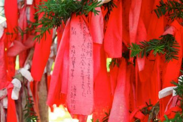 <p>The red cloth on which wishes are written must be tied to the tree using only the left hand</p>