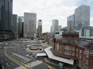Tokyo Station from above ground