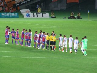 Shaking hands after the match