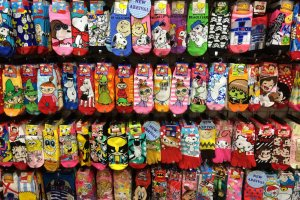 Novelty and character socks are so popular you can find them everywhere. Snoopy, Hello Kitty, One Piece, & Pokemon are just a few fun designs available.