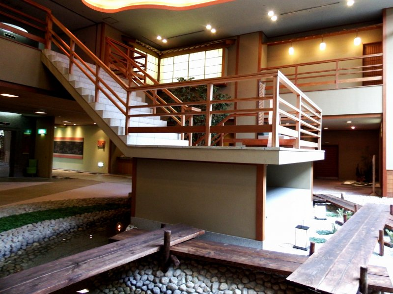 <p>The stairs overlooking the lobby area</p>