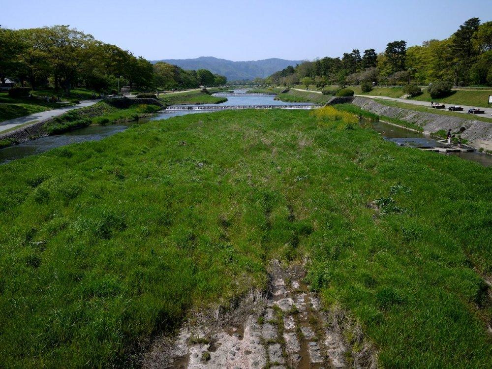 Kamogawa chảy từ những ngọn đồi xanh ở phía bắc Kyoto đến tận phía nam Kyoto