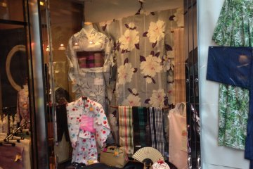 <p>Traditional and sophisticated kimono in the window of Tsudaya.</p>