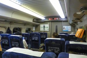 The clean airplane like feel on the inside of the Shinkansen