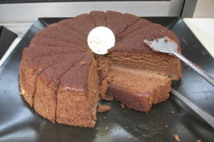 There are several types of chocolate cake served at all times