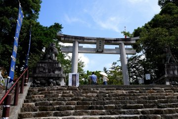 <p>Up the steps and through the stone torii</p>