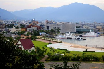 <p>View of the port of Tsuruga seen from the pathway to the &#39;Moon-viewing Deck&#39;</p>