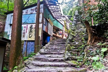 <p>Some rather run-down looking souvenir shops along the approach to the last of the two remaining waterfalls</p>