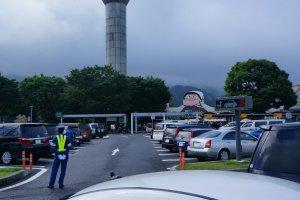 Parking lot attendants will help you find a spot