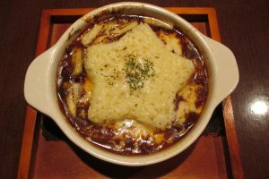 Red wine and mushroom doriawith rice in the shape of a star