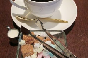 The lunatic blend coffee comes with pretty star-shaped sugar cubes