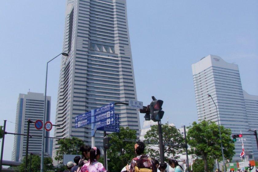 True beauty: The Landmark Tower and Kimono-clad Ladies.