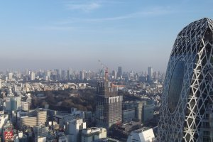 Shinjuku Park, some construction, and Cocoon Tower