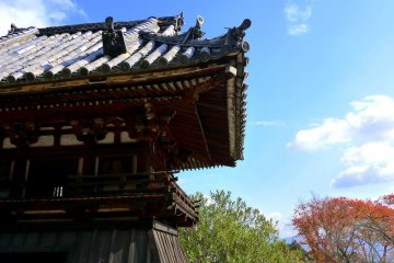 <p>Wonderful Japanese roof tiles on the bell tower!</p>