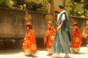 Chigo children (稚児), those who perform services in the temples, wear elaborate hats that represent the zodiacs