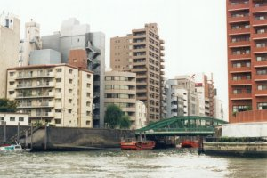 Apartment buildings along the Sumida River.