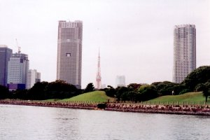 A view of Tokyo Tower from the Sumida River.