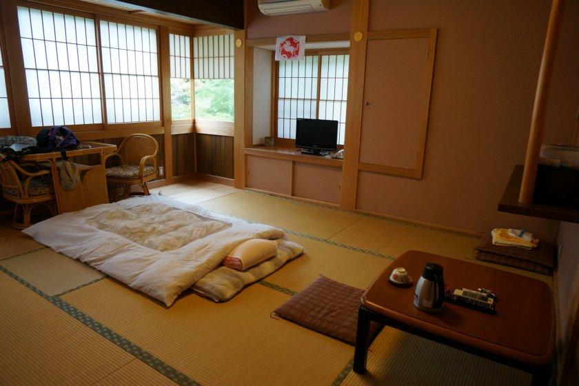 ห้องนอนที่วัด Sekisho-in กว้างมาก
