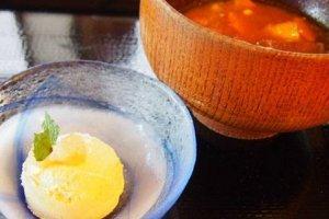 """Súp miso và """"kem miso"""" cho món tráng miệng của bữa trưa"""
