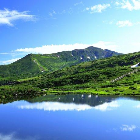 Blue Lake & Mt. Asahi in Hokkaido