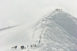 Climbing the peak of Mount Annupuri