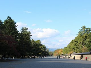 堺町御門をくぐり御所に向かう。正面奥には御所の建礼門がある
