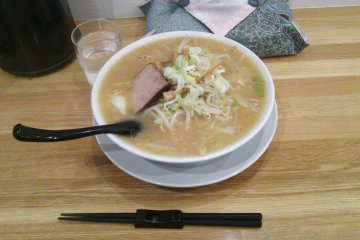 <p>The red miso is the most famous ramen here; this is its non-spicy white counterpart</p>