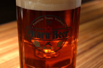 A 500ml glass of Dunkel at Otaru Beer's Leibspeise in Sapporo