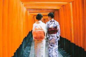 Dua orang gadis Jepang yang berpakaian tradisional; kimono dan yukata, sedang berjalan di antara rubuan torii.